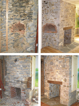 Restoration of original limestone fireplace and beehive oven